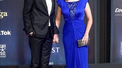 """Photo of هبه مجدي بإطلالة أنيقة هادئة كعادتها مع زوجها في ختام """"مهرجان الجونة السينمائي"""""""