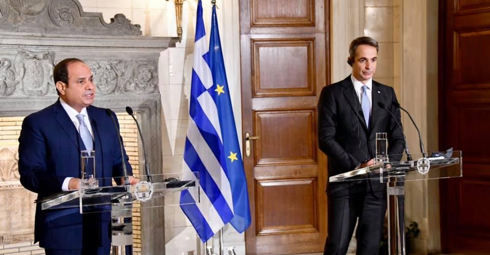 كلمة السيد الرئيس في المؤتمر الصحفي مع رئيس وزراء اليونان دولة رئيس الوزراء كيرياكوس ميتسوتاكيس،