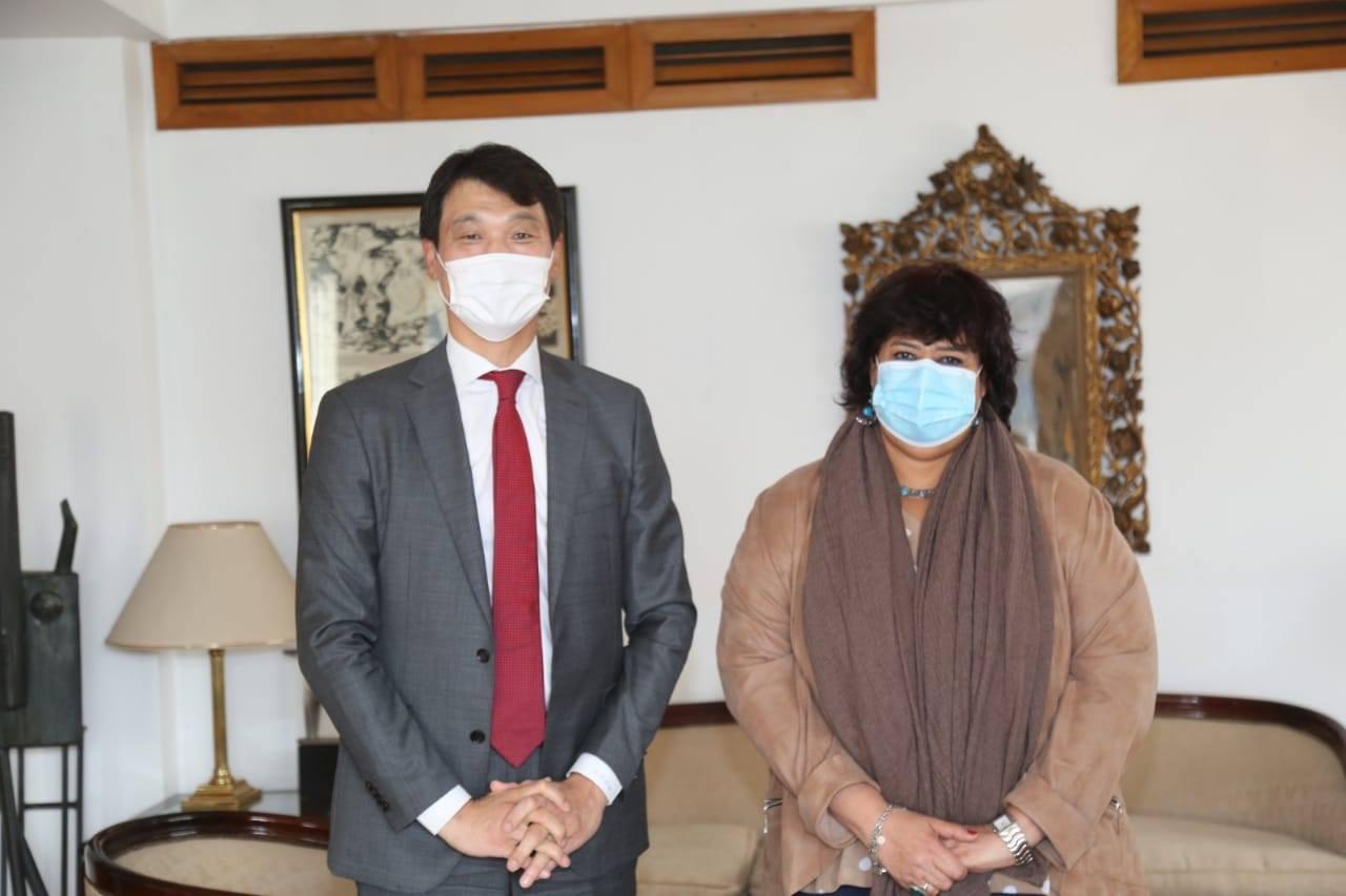 وزيرة الثقافة تلتقى سفير كوريا الجنوبية بالقاهرة