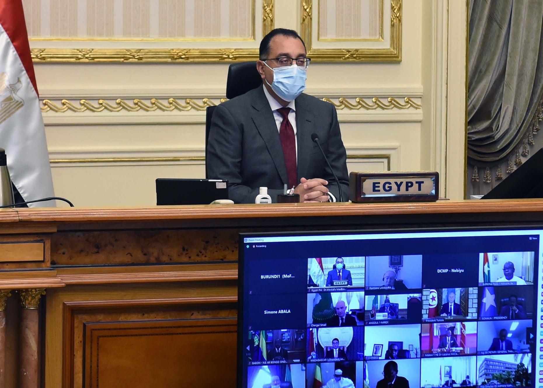 رئيس الوزراء يشارك نيابة عن الرئيس السيسي فى أعمال قمة الاتحاد الإفريقى الاستثنائية الافتراضية الرابعة عشرة لإسكات البنادق