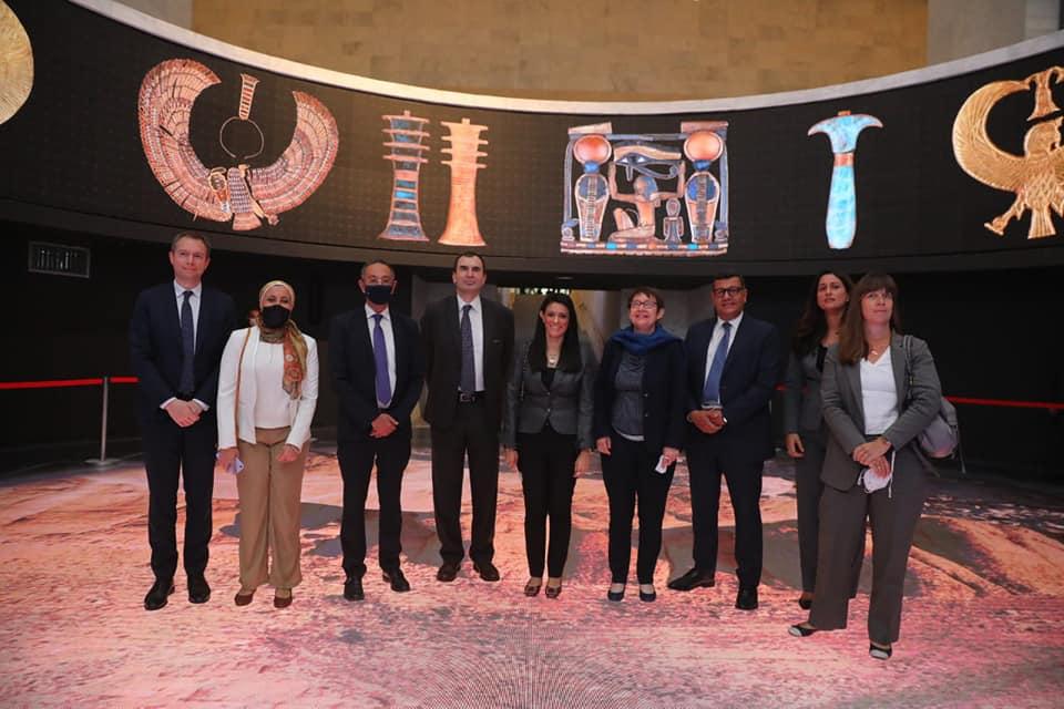 وزيرة التعاون الدولي تصطحب رئيسة البنك الأوروبي لإعادة الإعمار والتنمية في زيارة للمتحف القومي الحضارة وقاعة المومياوات الملكية
