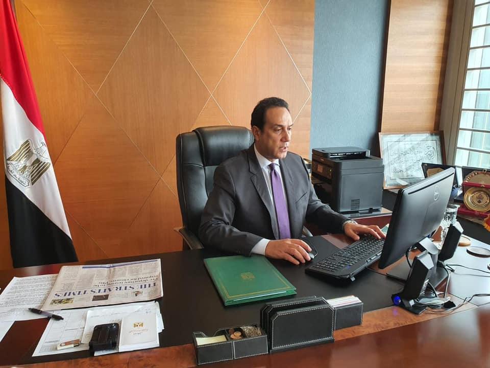 السفير المصري في سنغافورة يشارك في ندوة افتراضية بمناسبة الاحتفال بيوم إفريقيا