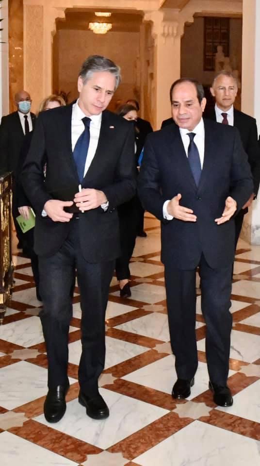 استقبل السيد الرئيس عبد الفتاح السيسي اليوم السيد أنتوني بلينكن وزير خارجية الولايات المتحدة الأمريكية